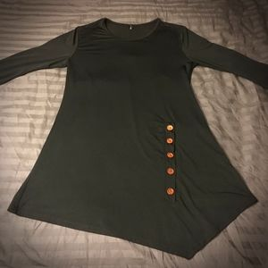 Black Asymmetrical Long Sleeve Tunic Top/Dress